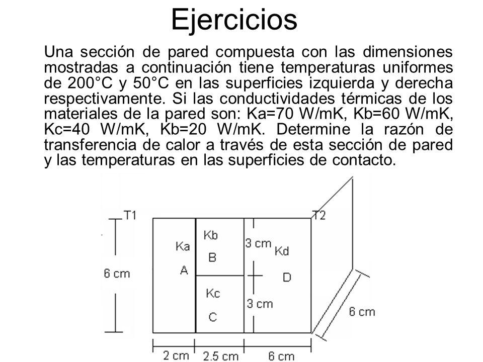 Ejercicios Una sección de pared compuesta con las dimensiones mostradas a continuación tiene temperaturas uniformes de 200°C y 50°C en las superficies