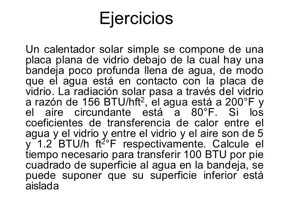 Ejercicios Un calentador solar simple se compone de una placa plana de vidrio debajo de la cual hay una bandeja poco profunda llena de agua, de modo q