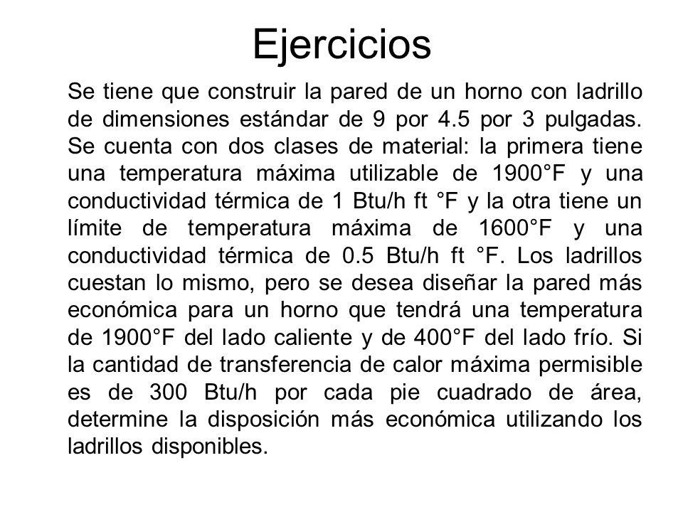 Ejercicios Se tiene que construir la pared de un horno con ladrillo de dimensiones estándar de 9 por 4.5 por 3 pulgadas. Se cuenta con dos clases de m