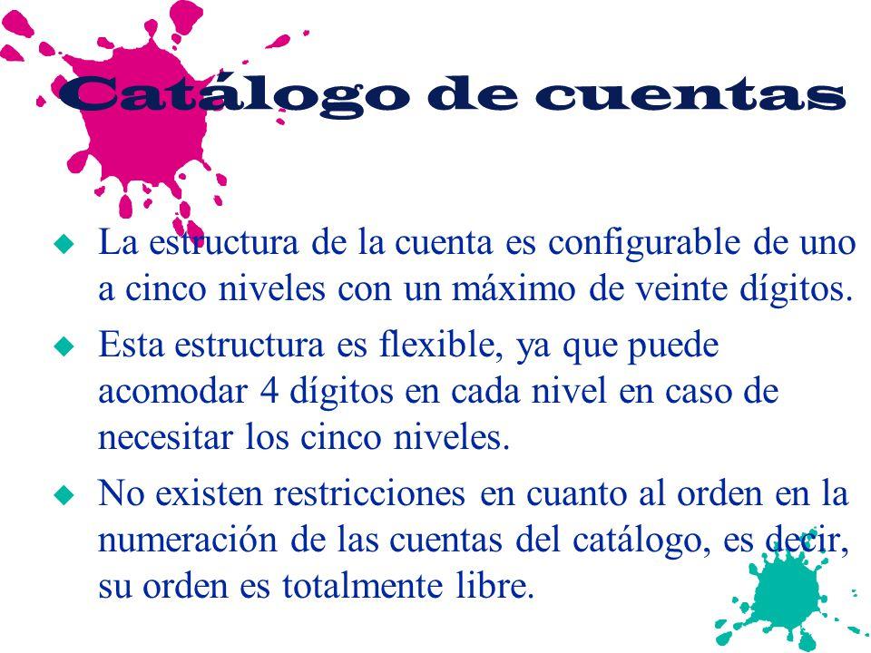 Catálogo de cuentas u La estructura de la cuenta es configurable de uno a cinco niveles con un máximo de veinte dígitos. u Esta estructura es flexible