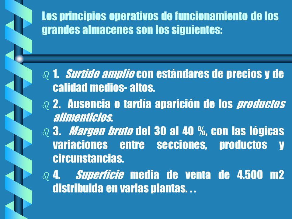 Los principios operativos de funcionamiento de los grandes almacenes son los siguientes: b b 1.