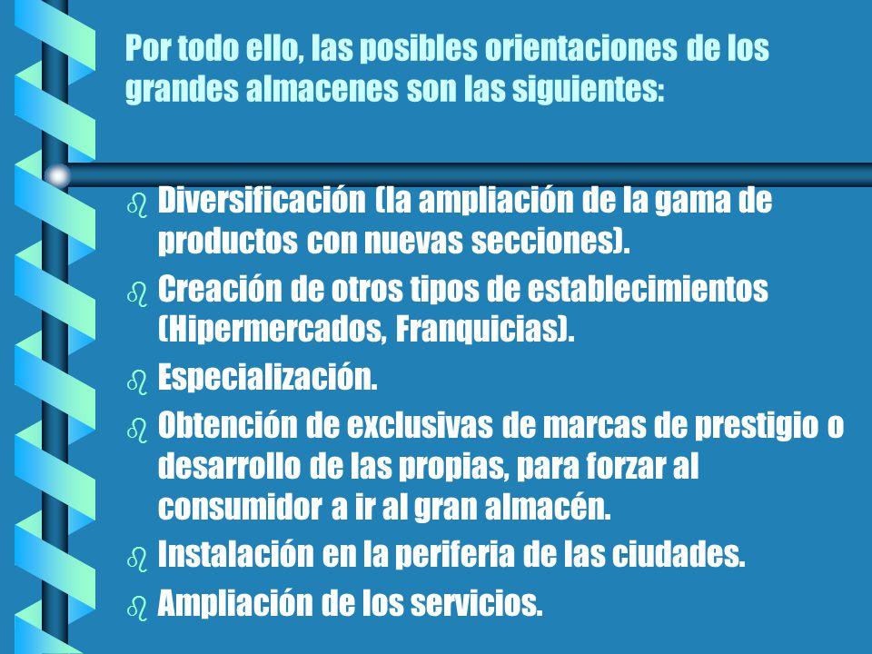 Por todo ello, las posibles orientaciones de los grandes almacenes son las siguientes: b b Diversificación (la ampliación de la gama de productos con nuevas secciones).
