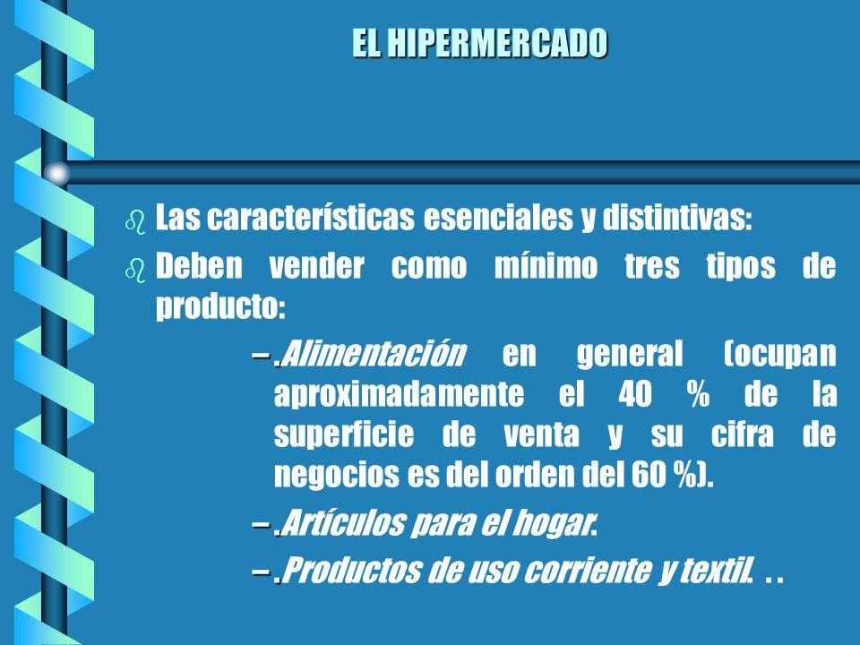 EL HIPERMERCADO b b Las características esenciales y distintivas: b b Deben vender como mínimo tres tipos de producto: –.