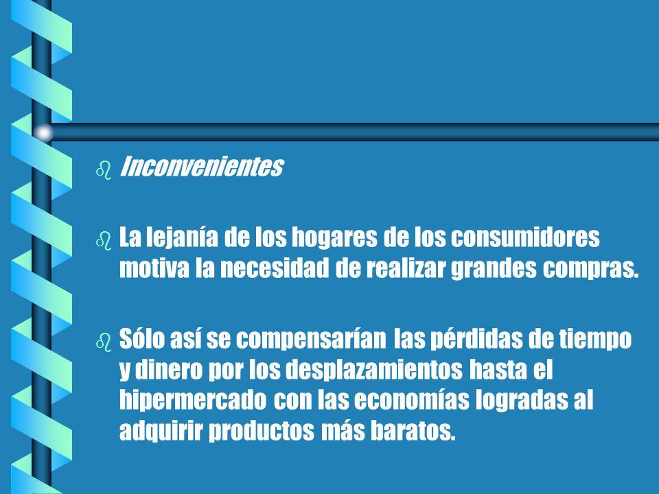 b b Inconvenientes b b La lejanía de los hogares de los consumidores motiva la necesidad de realizar grandes compras.