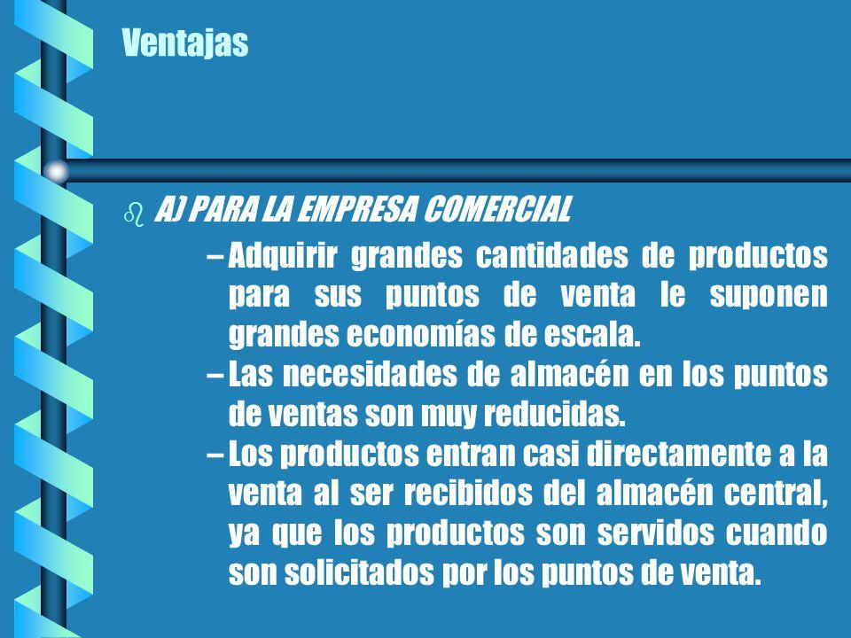 Ventajas b b A) PARA LA EMPRESA COMERCIAL – –Adquirir grandes cantidades de productos para sus puntos de venta le suponen grandes economías de escala.