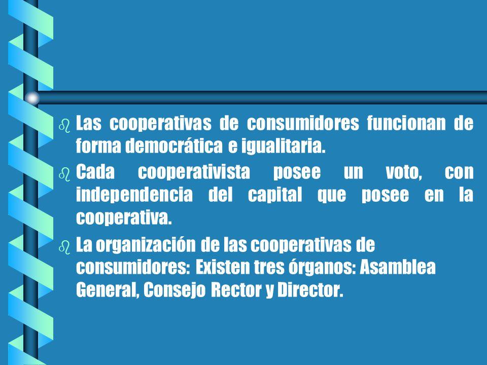 b b Las cooperativas de consumidores funcionan de forma democrática e igualitaria.