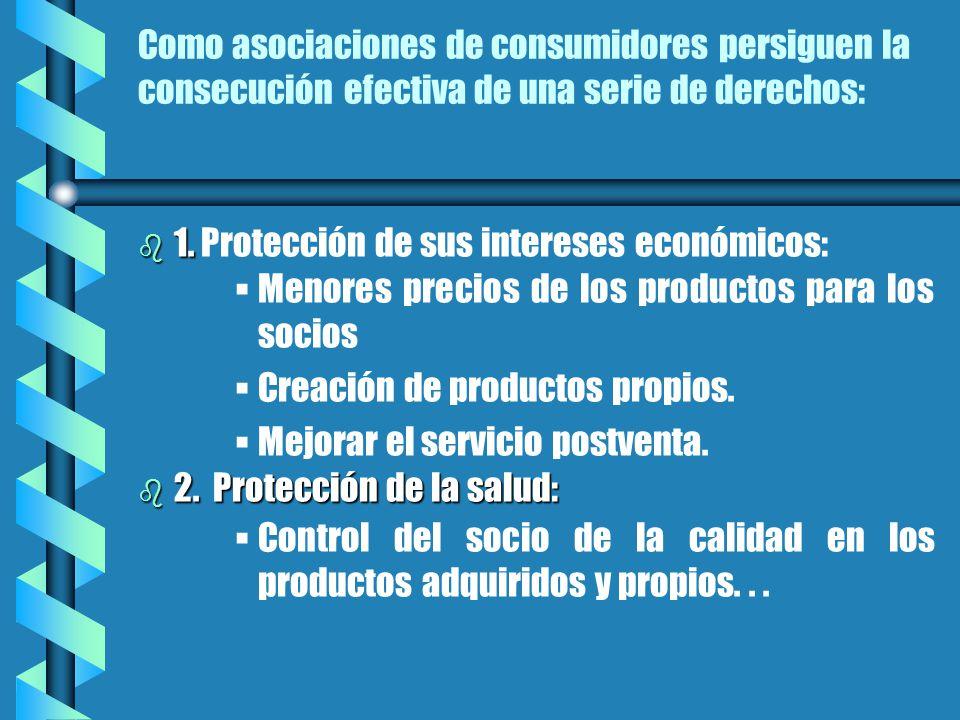 Como asociaciones de consumidores persiguen la consecución efectiva de una serie de derechos: b 1.