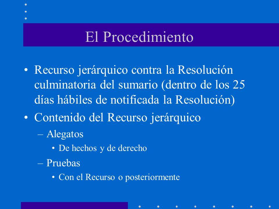 El Procedimiento Recurso jerárquico contra la Resolución culminatoria del sumario (dentro de los 25 días hábiles de notificada la Resolución) Contenid
