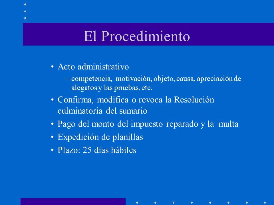 El Procedimiento Acto administrativo –competencia, motivación, objeto, causa, apreciación de alegatos y las pruebas, etc. Confirma, modifica o revoca