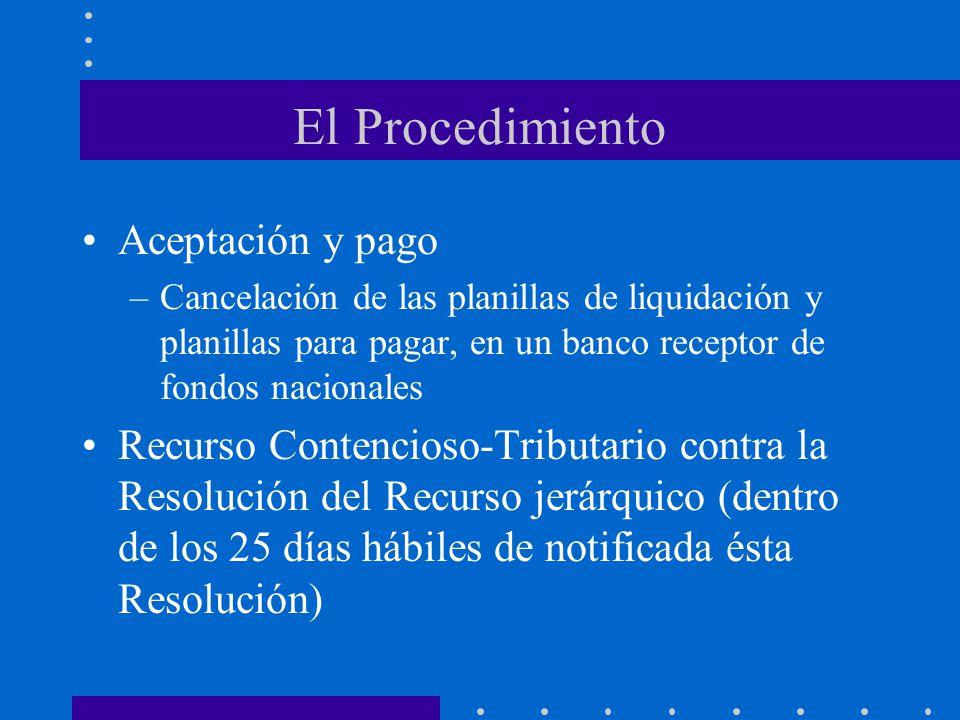 El Procedimiento Aceptación y pago –Cancelación de las planillas de liquidación y planillas para pagar, en un banco receptor de fondos nacionales Recu