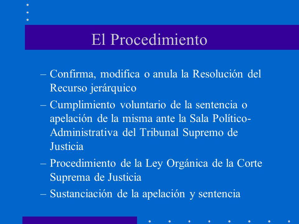 El Procedimiento –Confirma, modifica o anula la Resolución del Recurso jerárquico –Cumplimiento voluntario de la sentencia o apelación de la misma ant