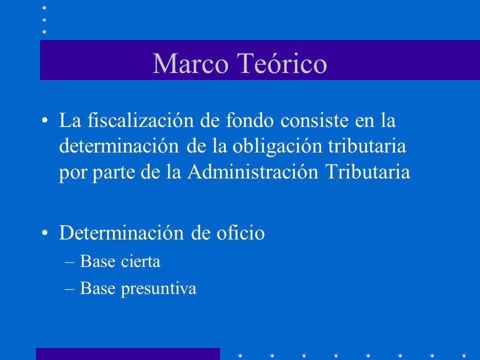 Marco Teórico La fiscalización de fondo consiste en la determinación de la obligación tributaria por parte de la Administración Tributaria Determinaci