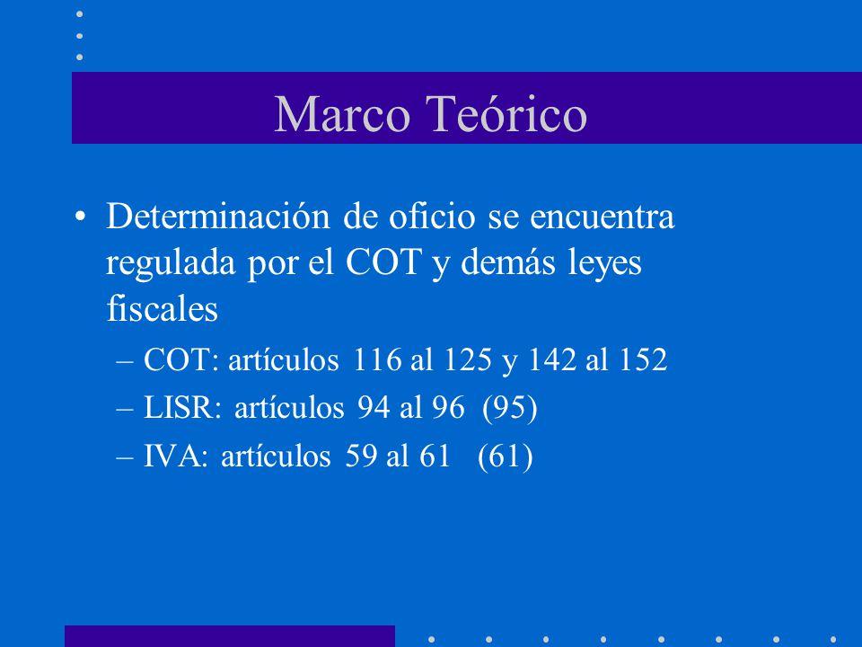 Marco Teórico Determinación de oficio se encuentra regulada por el COT y demás leyes fiscales –COT: artículos 116 al 125 y 142 al 152 –LISR: artículos