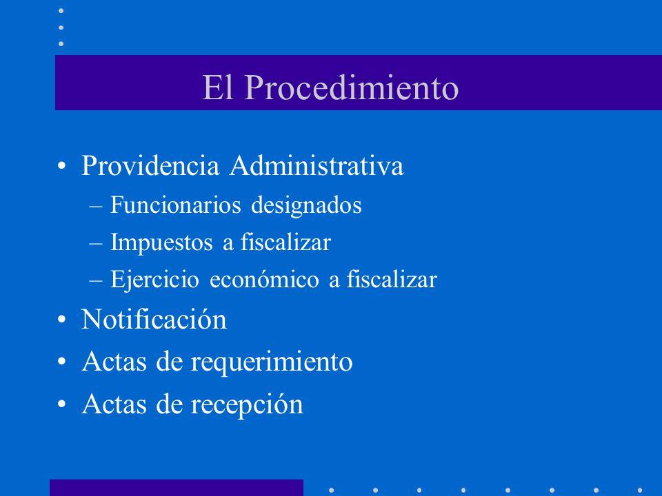 El Procedimiento Providencia Administrativa –Funcionarios designados –Impuestos a fiscalizar –Ejercicio económico a fiscalizar Notificación Actas de r