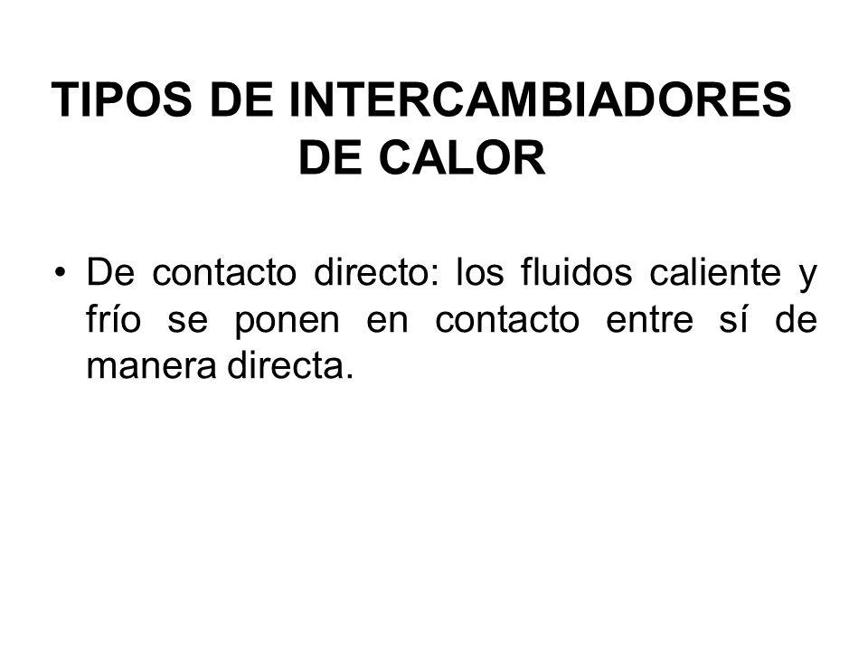 TIPOS DE INTERCAMBIADORES DE CALOR De contacto directo: los fluidos caliente y frío se ponen en contacto entre sí de manera directa.