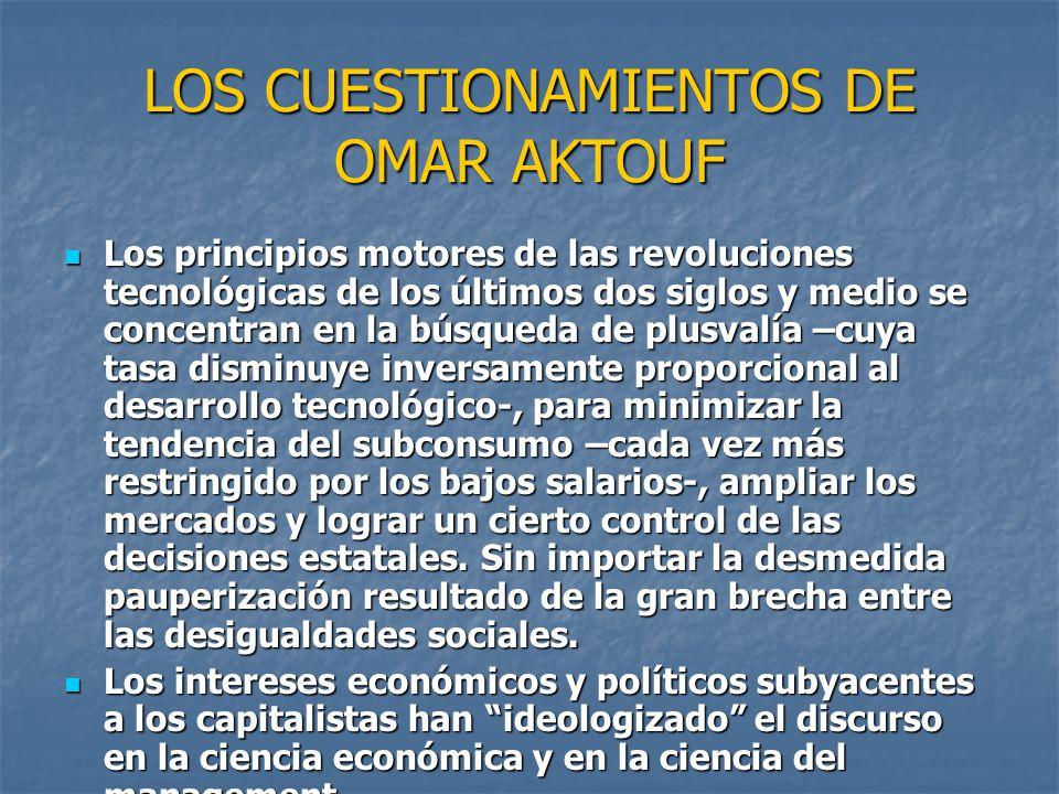 LOS CUESTIONAMIENTOS DE OMAR AKTOUF Los principios motores de las revoluciones tecnológicas de los últimos dos siglos y medio se concentran en la búsq