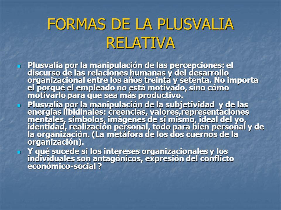 FORMAS DE LA PLUSVALIA RELATIVA Plusvalía por la manipulación de las percepciones: el discurso de las relaciones humanas y del desarrollo organizacion