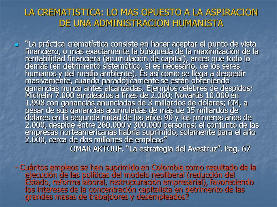 LA CREMATISTICA: LO MAS OPUESTO A LA ASPIRACION DE UNA ADMINISTRACION HUMANISTA La práctica crematística consiste en hacer aceptar el punto de vista f