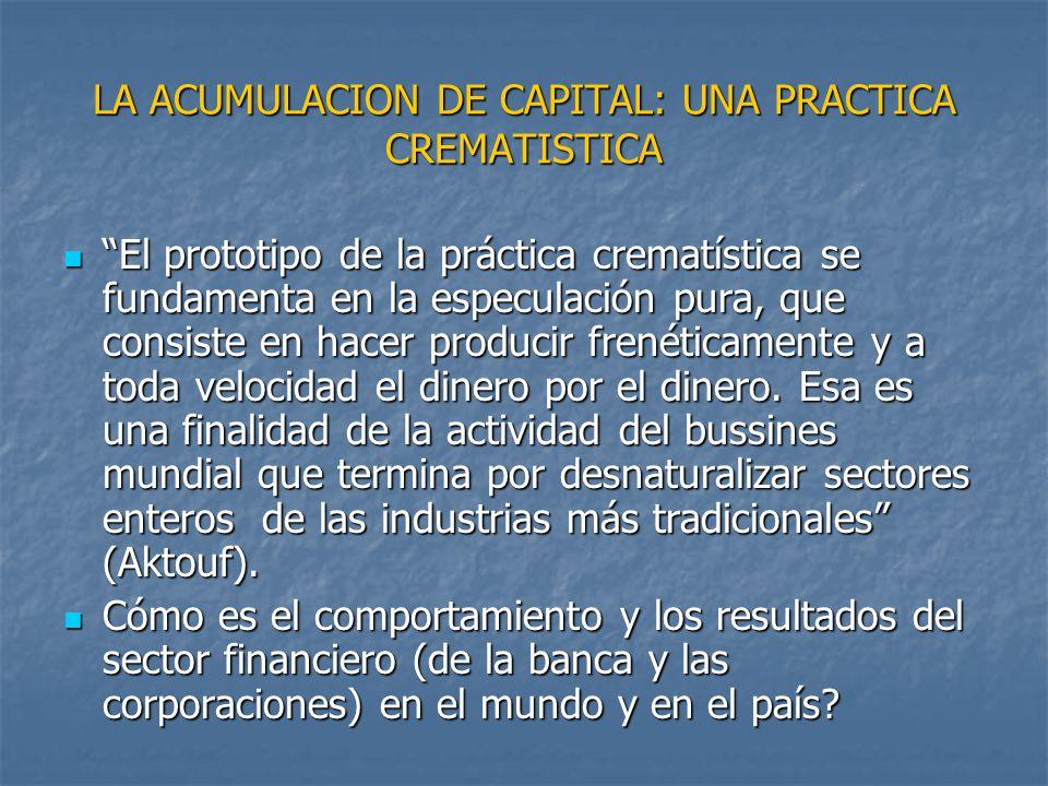 LA ACUMULACION DE CAPITAL: UNA PRACTICA CREMATISTICA El prototipo de la práctica crematística se fundamenta en la especulación pura, que consiste en h