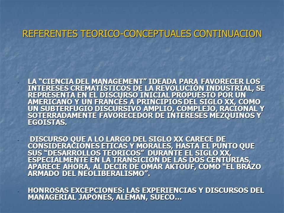 REFERENTES TEORICO-CONCEPTUALES CONTINUACION - LA CIENCIA DEL MANAGEMENT IDEADA PARA FAVORECER LOS INTERESES CREMATÍSTICOS DE LA REVOLUCIÓN INDUSTRIAL