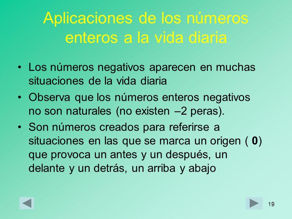 18 Repasa lo aprendido Los enteros positivos se obtienen colocando el signo + (positivo) delante de los números naturalesenteros positivos Los enteros