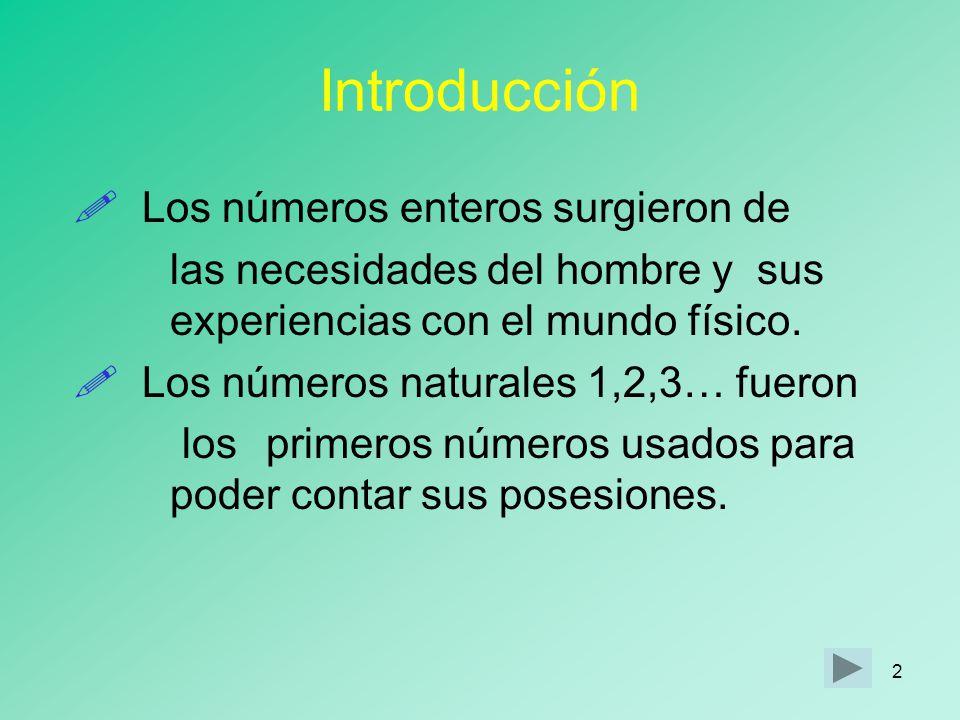 2 Introducción Los números enteros surgieron de las necesidades del hombre y sus experiencias con el mundo físico.