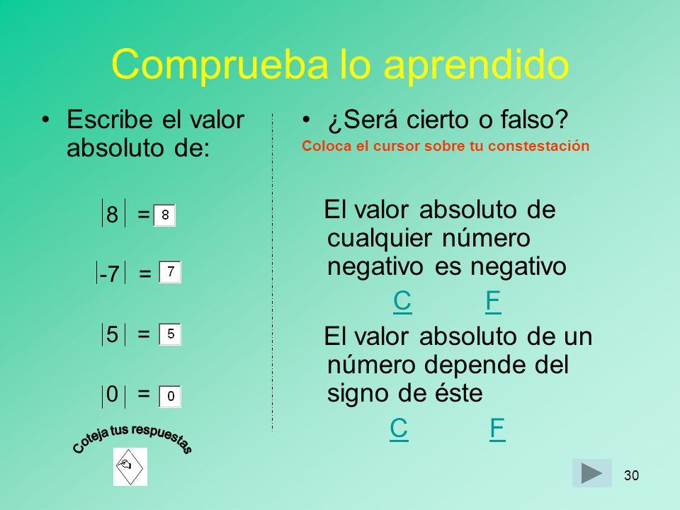 29 Cosas para recordar Valor absoluto de un número entero es el la distancia desde el número entero hasta el cero.Valor absoluto Se indica colocando e