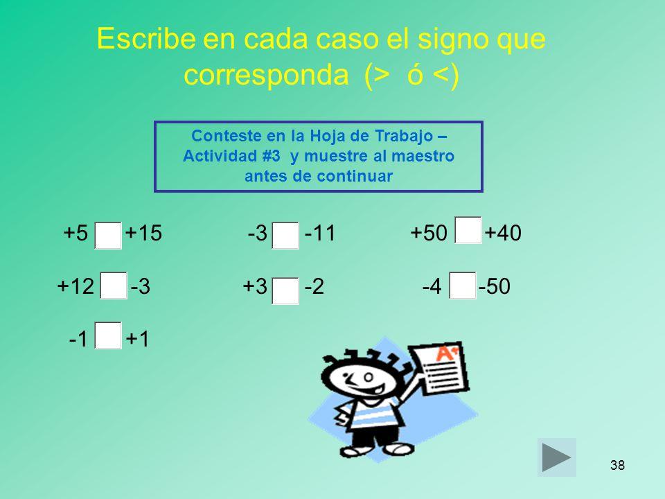 37 COMPRUEBA SI LO HAS COMPRENDIDO Ordena los siguientes números enteros de menor a mayor: -10, -2, +9, 0, +5, -5, +3, -3, +2, -4 Conteste en la Hoja