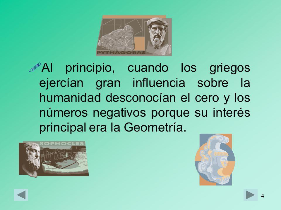 4 Al principio, cuando los griegos ejercían gran influencia sobre la humanidad desconocían el cero y los números negativos porque su interés principal era la Geometría.