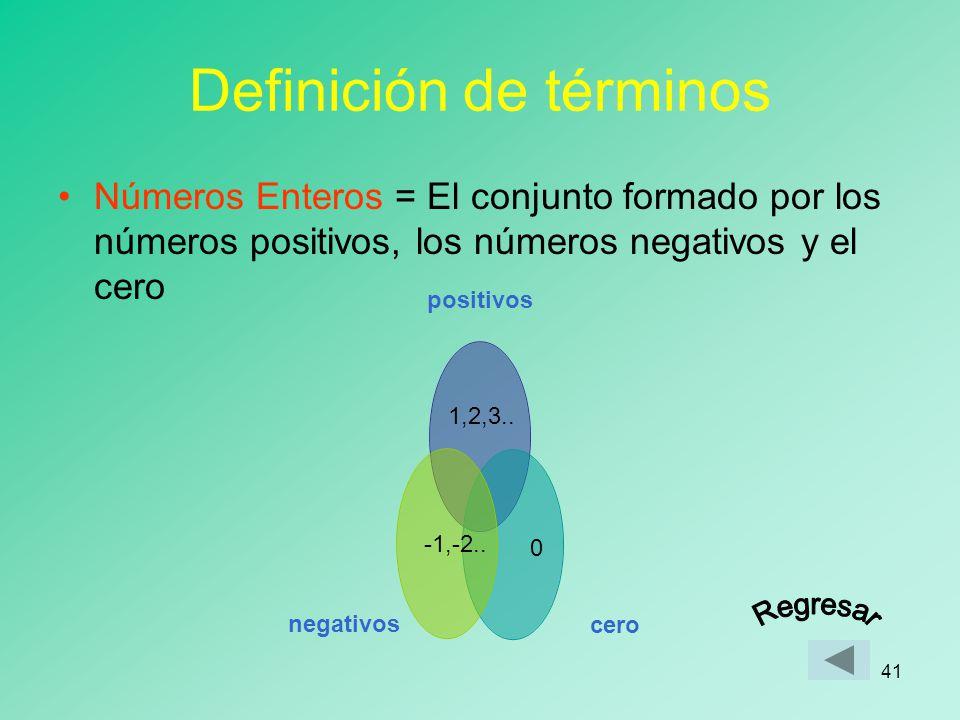40 Definición de términos Números Naturales = los números que usamos para contar: 1,2,3,4,5 ……