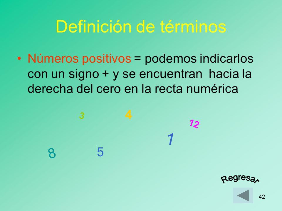 41 Definición de términos Números Enteros = El conjunto formado por los números positivos, los números negativos y el cero positivos ceronegativos -1,