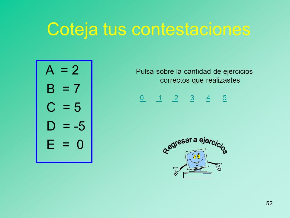 51 Coteja tus contestaciones 8 = 8 7 = 7 5 = 5 0 = 0 Pulsa sobre la cantidad de ejercicios correctos que realizastes 0 1 2 3 4 5 0 12345