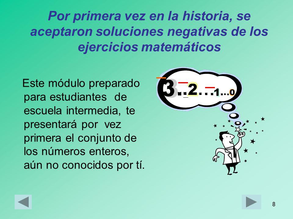28 Valor Absoluto de un número entero Observa la recta numérica: Los números +3 y –3 se encuentran a la misma distancia del cero Ocurre así porque los dos números están formados por el mismo número natural, el 3, aunque con distinto signo Al número 3 se le llama valor absoluto de +3 y –3, y se indica así: |3| = 3 |+3| = 3 | -3 | = 3 O-33