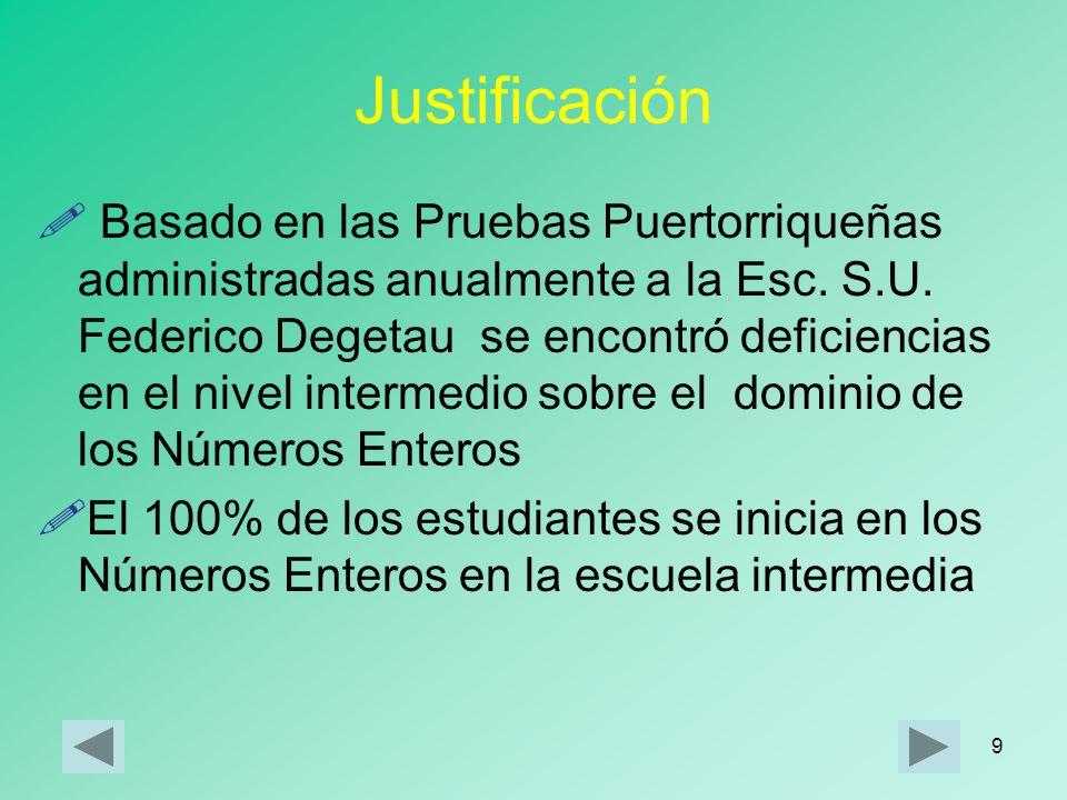 9 Justificación Basado en las Pruebas Puertorriqueñas administradas anualmente a la Esc.