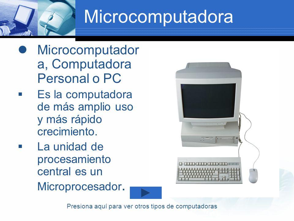 Microcomputadora Microcomputador a, Computadora Personal o PC Es la computadora de más amplio uso y más rápido crecimiento. La unidad de procesamiento