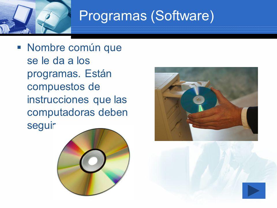 Programas (Software) Nombre común que se le da a los programas. Están compuestos de instrucciones que las computadoras deben seguir.