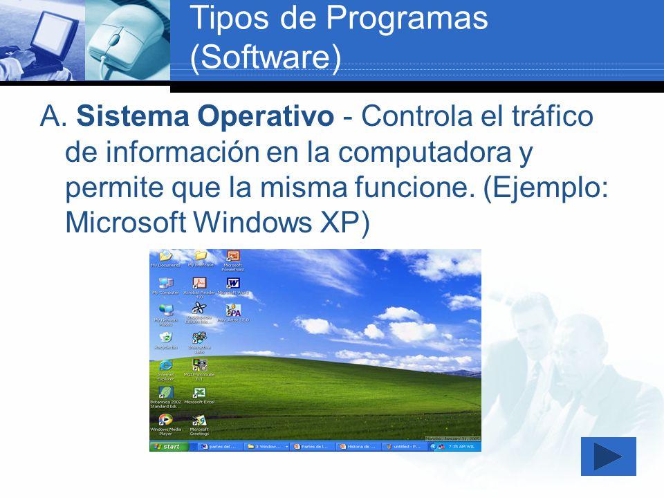 Tipos de Programas (Software) A. Sistema Operativo - Controla el tráfico de información en la computadora y permite que la misma funcione. (Ejemplo: M