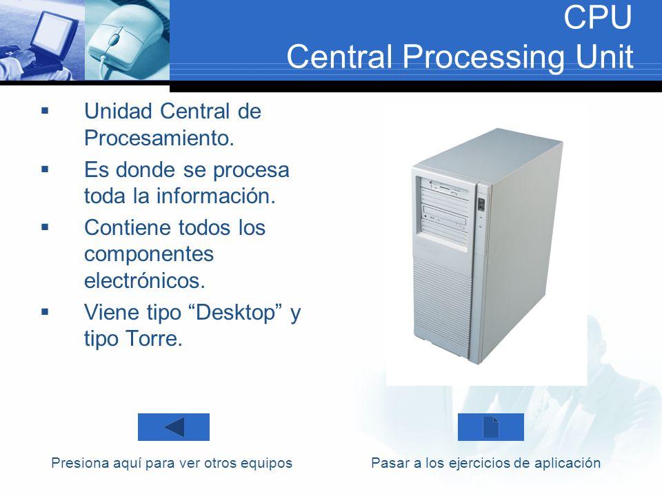 CPU Central Processing Unit Unidad Central de Procesamiento. Es donde se procesa toda la información. Contiene todos los componentes electrónicos. Vie