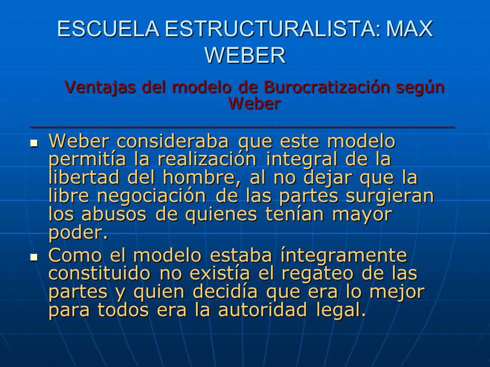 ESCUELA ESTRUCTURALISTA: MAX WEBER Ventajas del modelo de Burocratización según Weber _________________________________________________ Weber consider