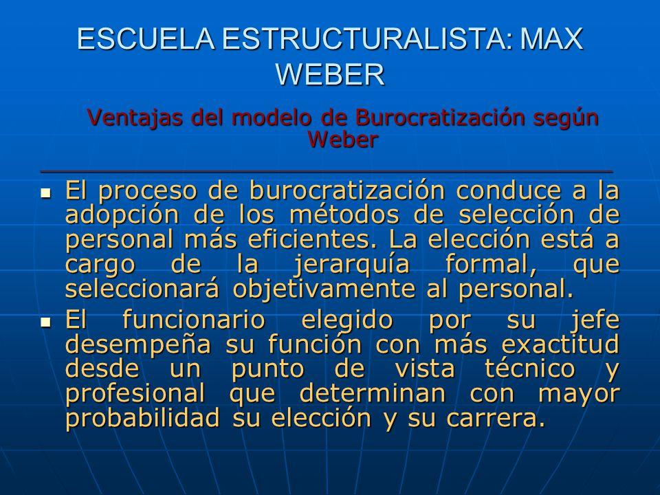 ESCUELA ESTRUCTURALISTA: MAX WEBER Ventajas del modelo de Burocratización según Weber _________________________________________________ El proceso de