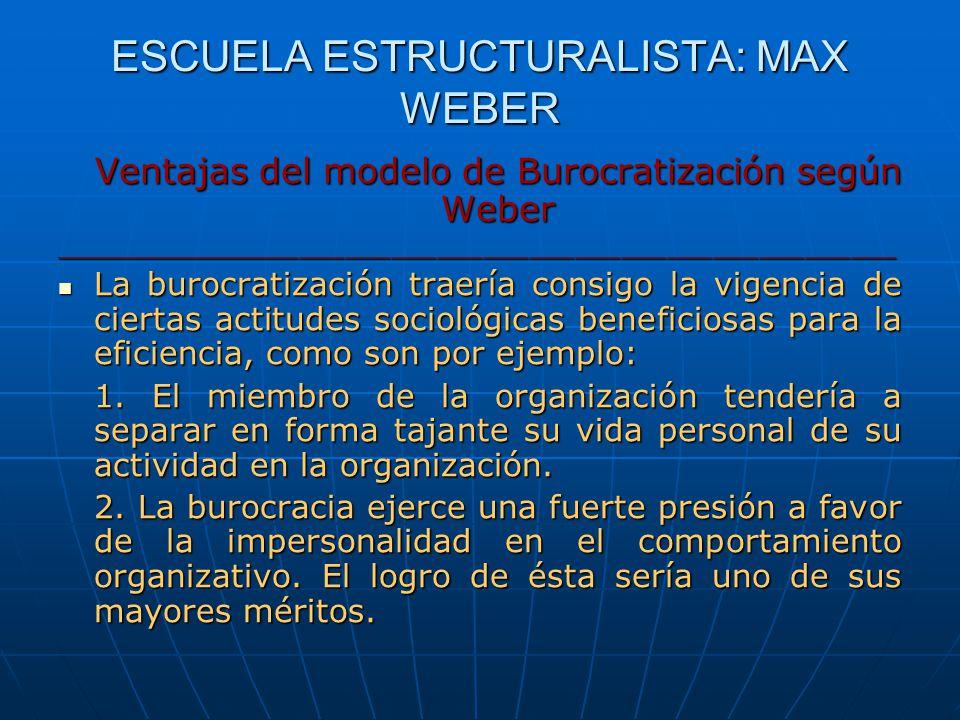 ESCUELA ESTRUCTURALISTA: MAX WEBER Ventajas del modelo de Burocratización según Weber _______________________________________________________ La buroc