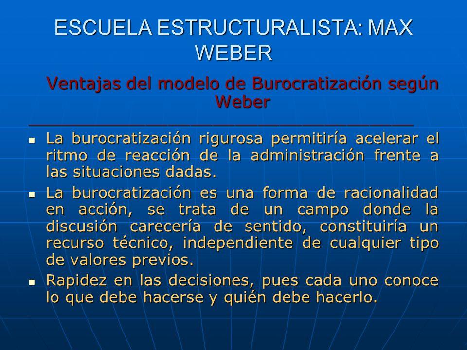 ESCUELA ESTRUCTURALISTA: MAX WEBER Ventajas del modelo de Burocratización según Weber ____________________________________________________ La burocrat