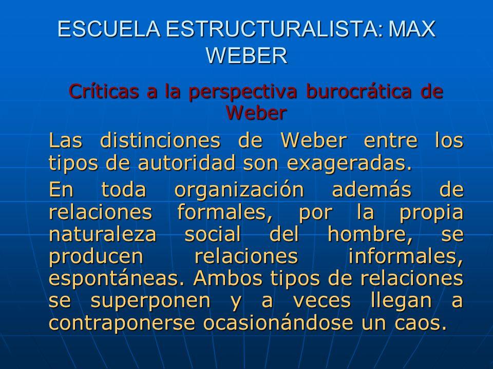 ESCUELA ESTRUCTURALISTA: MAX WEBER Críticas a la perspectiva burocrática de Weber Las distinciones de Weber entre los tipos de autoridad son exagerada