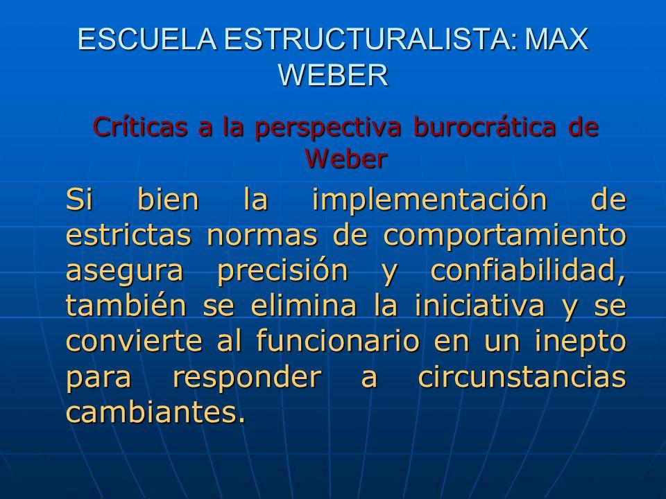 ESCUELA ESTRUCTURALISTA: MAX WEBER Críticas a la perspectiva burocrática de Weber Si bien la implementación de estrictas normas de comportamiento aseg