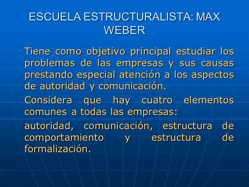 ESCUELA ESTRUCTURALISTA: MAX WEBER Tiene como objetivo principal estudiar los problemas de las empresas y sus causas prestando especial atención a los