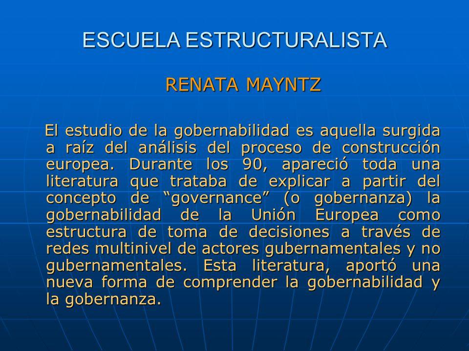 ESCUELA ESTRUCTURALISTA RENATA MAYNTZ El estudio de la gobernabilidad es aquella surgida a raíz del análisis del proceso de construcción europea. Dura