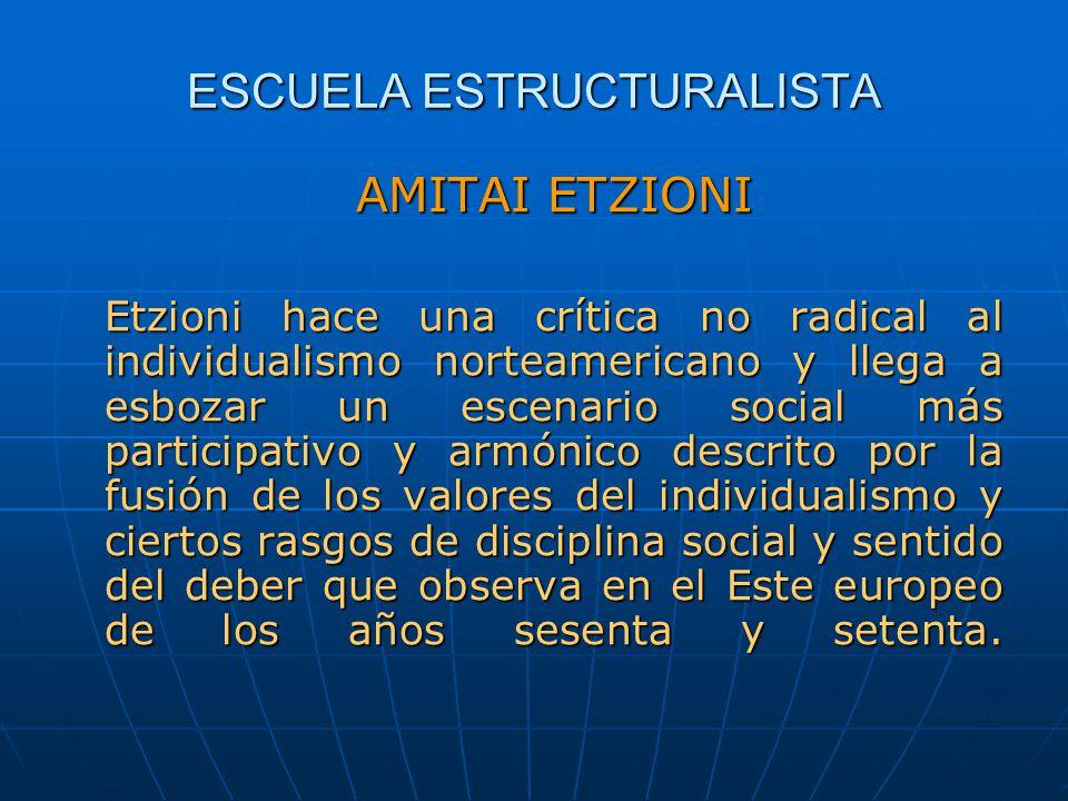 ESCUELA ESTRUCTURALISTA AMITAI ETZIONI Etzioni hace una crítica no radical al individualismo norteamericano y llega a esbozar un escenario social más
