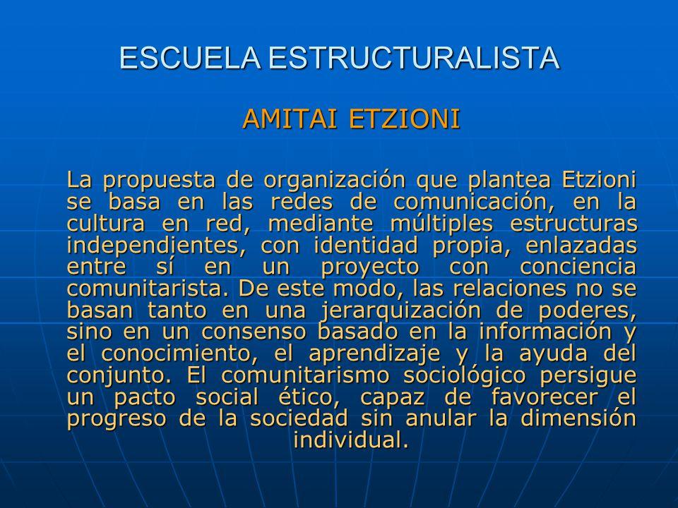 ESCUELA ESTRUCTURALISTA AMITAI ETZIONI La propuesta de organización que plantea Etzioni se basa en las redes de comunicación, en la cultura en red, me