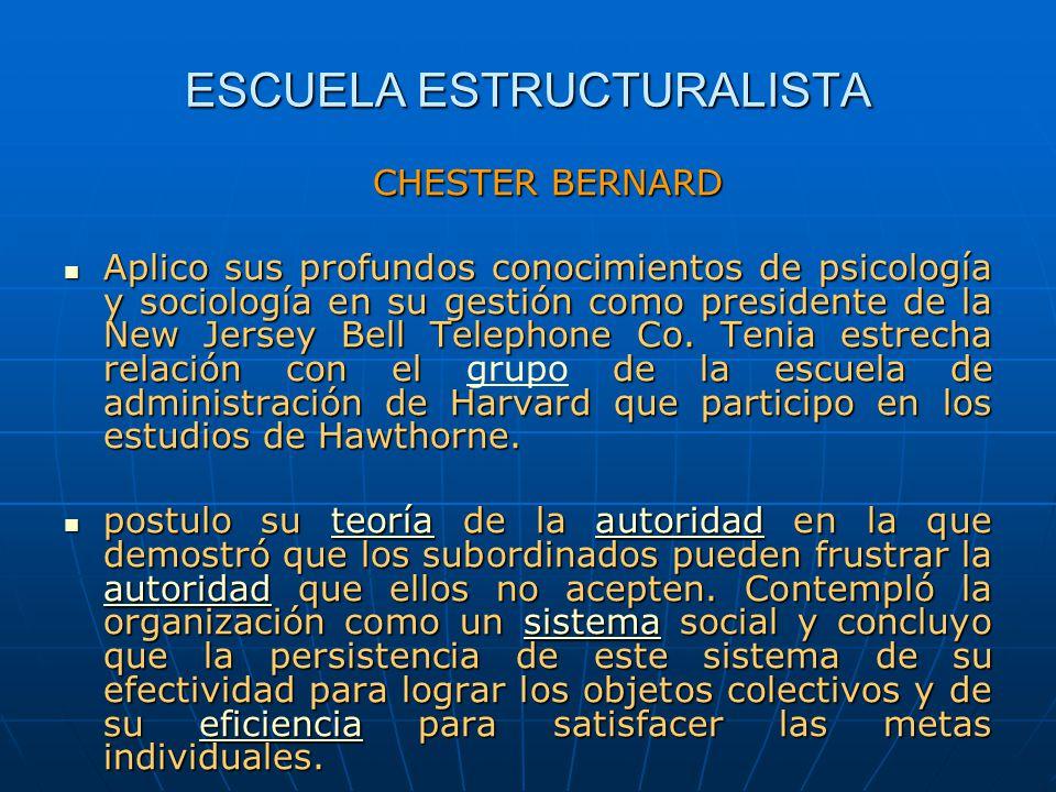 ESCUELA ESTRUCTURALISTA CHESTER BERNARD Aplico sus profundos conocimientos de psicología y sociología en su gestión como presidente de la New Jersey B