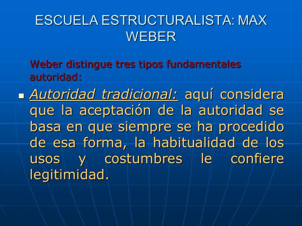 ESCUELA ESTRUCTURALISTA: MAX WEBER Weber distingue tres tipos fundamentales autoridad: Autoridad tradicional: aquí considera que la aceptación de la a